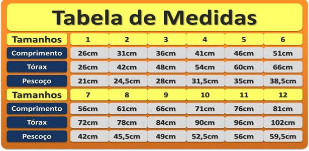 tabela medidas do bebê
